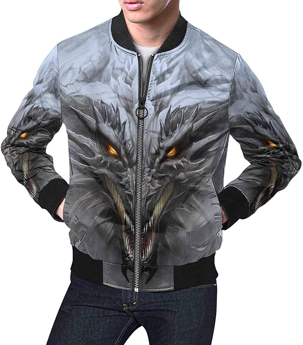 INTERESTPRINT Mens Day of The Dead Background with Paper Cut Flags Classic Short Bomber Jacket Coat