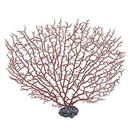 eDealMax Planta de agua acuarios Coral Artificial ornamento 27cm Altura Rojo