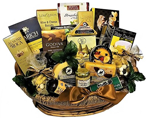 Gourmet Cheese Meats and Nuts Gift Basket Deluxe