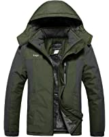 Lega Mens Waterproof Insulated Fleece Ski Jacket Windproof Hooded Rain Jacket