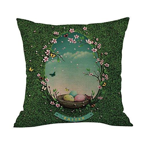 (Geetobby Easter Throw Pillow Case Bunny Rabbit Eggs Linen for Men Women Sofa Bedroom Livingroom)