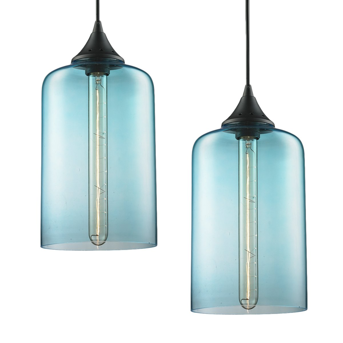 2-Pack Modern Industrial Vintage Glass Globe Pendant Light - MKLOT Minimalist Eco-Power Edison Style 7.09'' Wide Hanging Chandelier Ceiling Lighting Mounted Fixture with Blue Glass