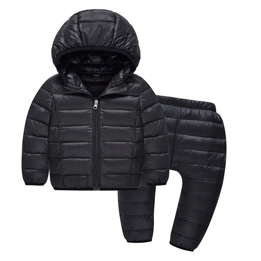 Kids 2 Piece Hooded Down Coats Winter Jackets Snowsuit with Ski Pant Sets