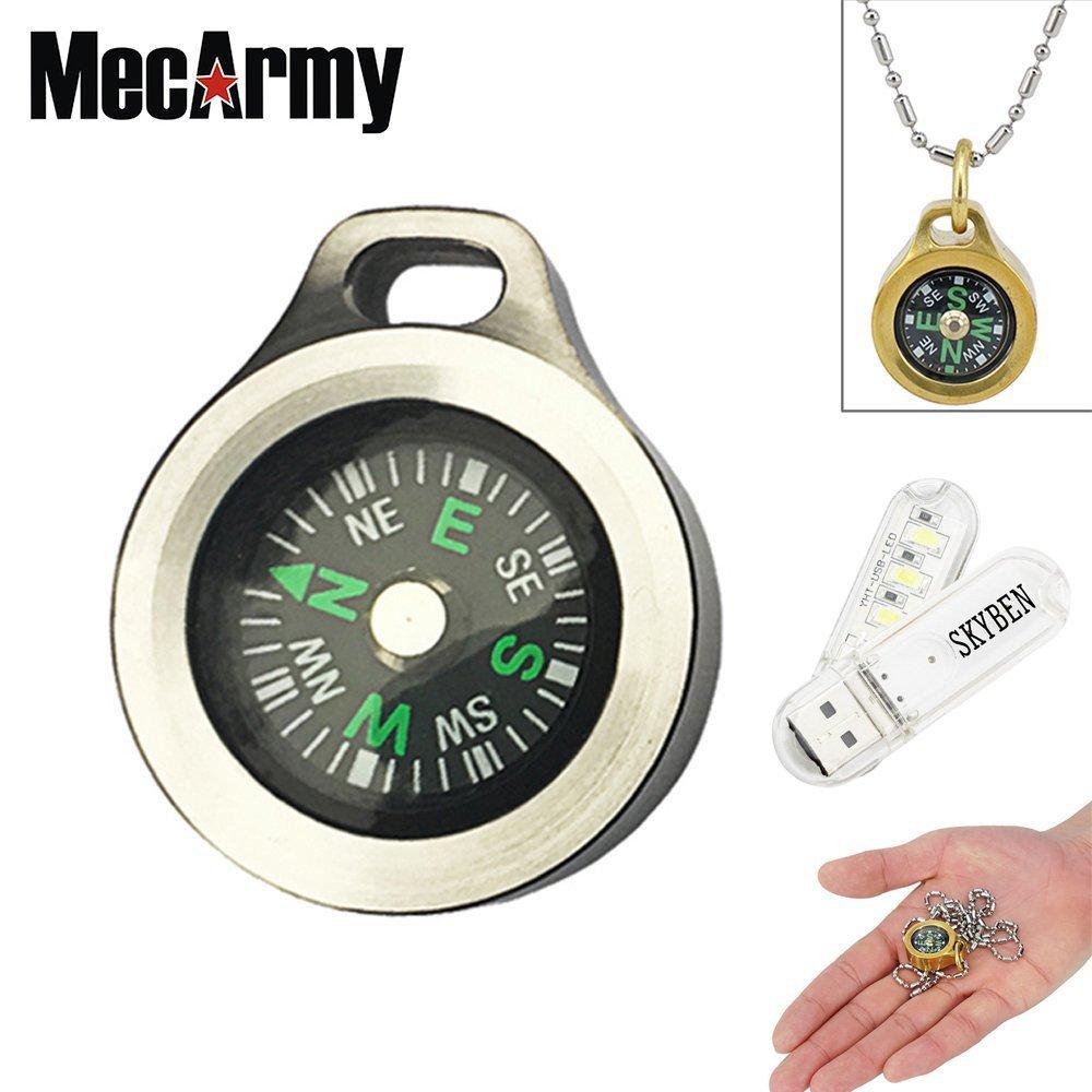 Mecarmy CMP Pentagon Wasserdicht Wandern Military Navigation EDC Kompass, konzipiert für den täglichen Carry mit Kette mit skyben USB-Light