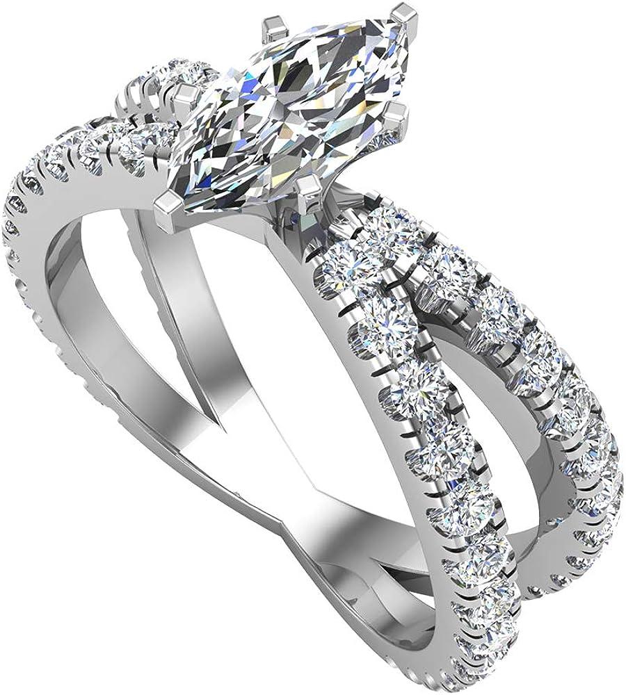 Anillo de compromiso de diamante de corte marquesa en X con vástago dividido en cruz de 1,75 quilates, oro total de 18 quilates (G-H, I1)