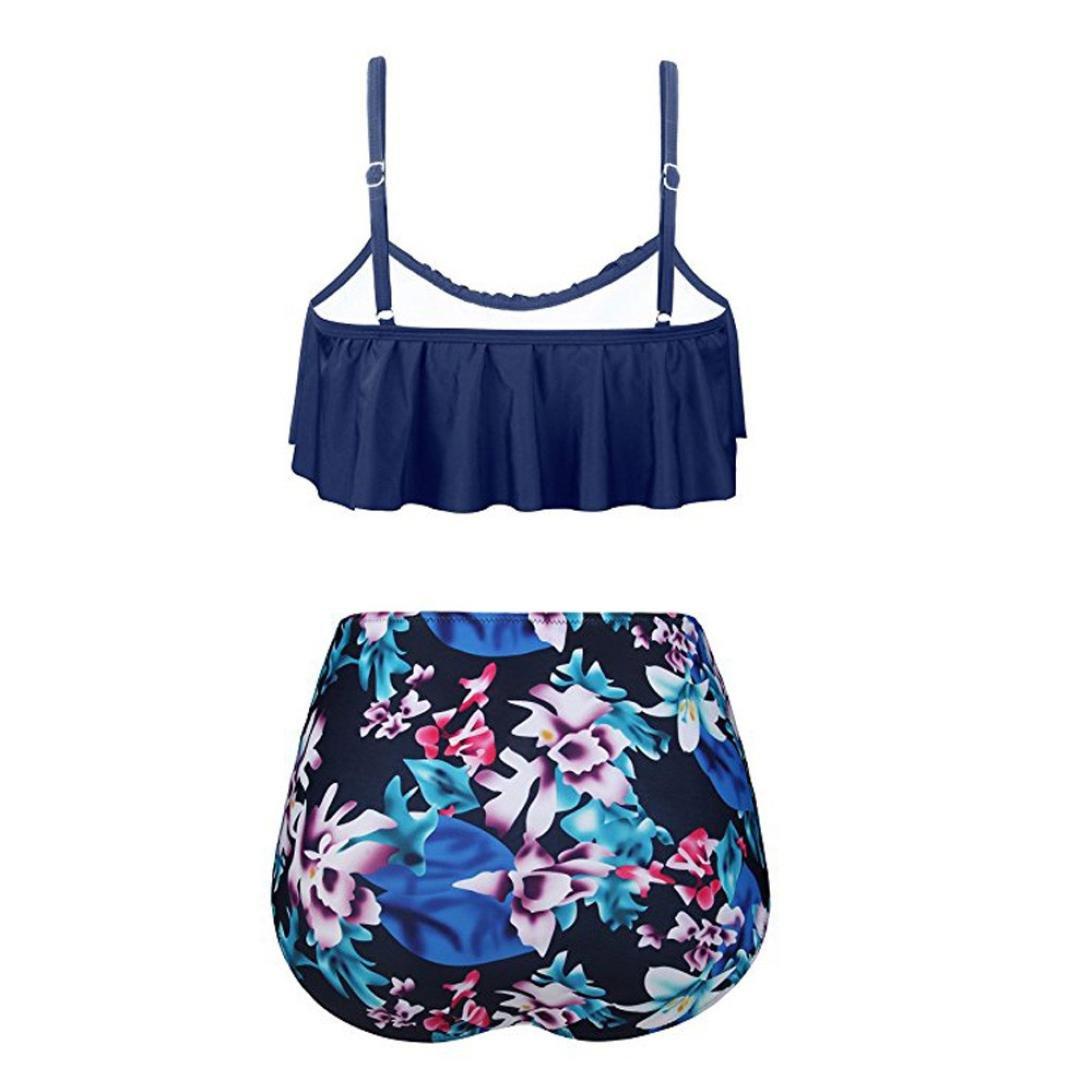 Sonnena sexy volante fruncido Bikini de dos piezas,Cinturones de cuello Cintura alta estampado floral Traje de bano push up talla extra sujetador con ...