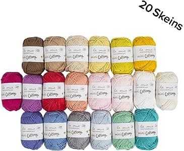 La Mia Mini Cottony 20 Skein 100% Cotton Mini Yarn, Total 17.6 Oz Each 0.88 Oz (25g) / 65 Yrds (60m), Light, Dk, Worsted Assorted Colors Yarn