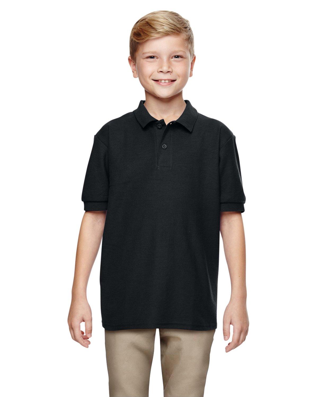 Gildan Boys DryBlend 6.3 oz. Double Piqué Sport Shirt (G728B) -Black -S-12PK