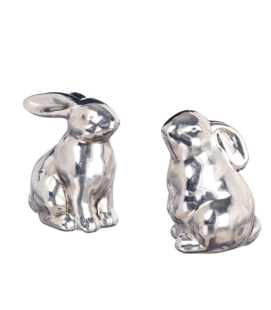 Set of 2 Assorted Sullivans 2.5'' Elegant Silver Resin Rabbit Figurines by Sullivans