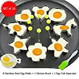 Fried Egg Mold Pancake Ring Set of 10 - BEMINH Stainless Steel Non-Stick Egg Shaper Ring with Silicone Pastry Brush and Egg Yolk Separator, Kitchen Cooking Tools for Kids and Lovers(Include Bear)