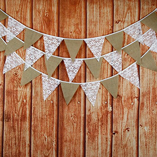 FirstKitchen 3.2M/10.5Feet Lace Bunting Vintage Flag Banner Pennant Garland Fabric Triangle Flags Lovely Cloth Shabby Chic Decoration for Birthday Retro Wedding Parties (Lace+Liner) -