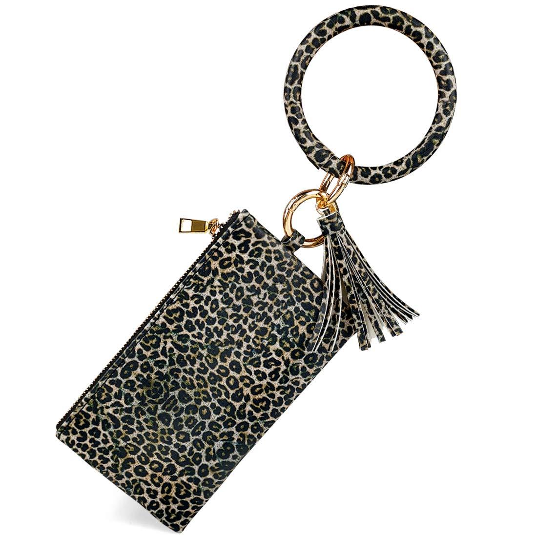 Women's Round Key Ring Wristlet Clutch Wallet Lightweight Leather Wristlet Purse with Bracelet Circle Keyring