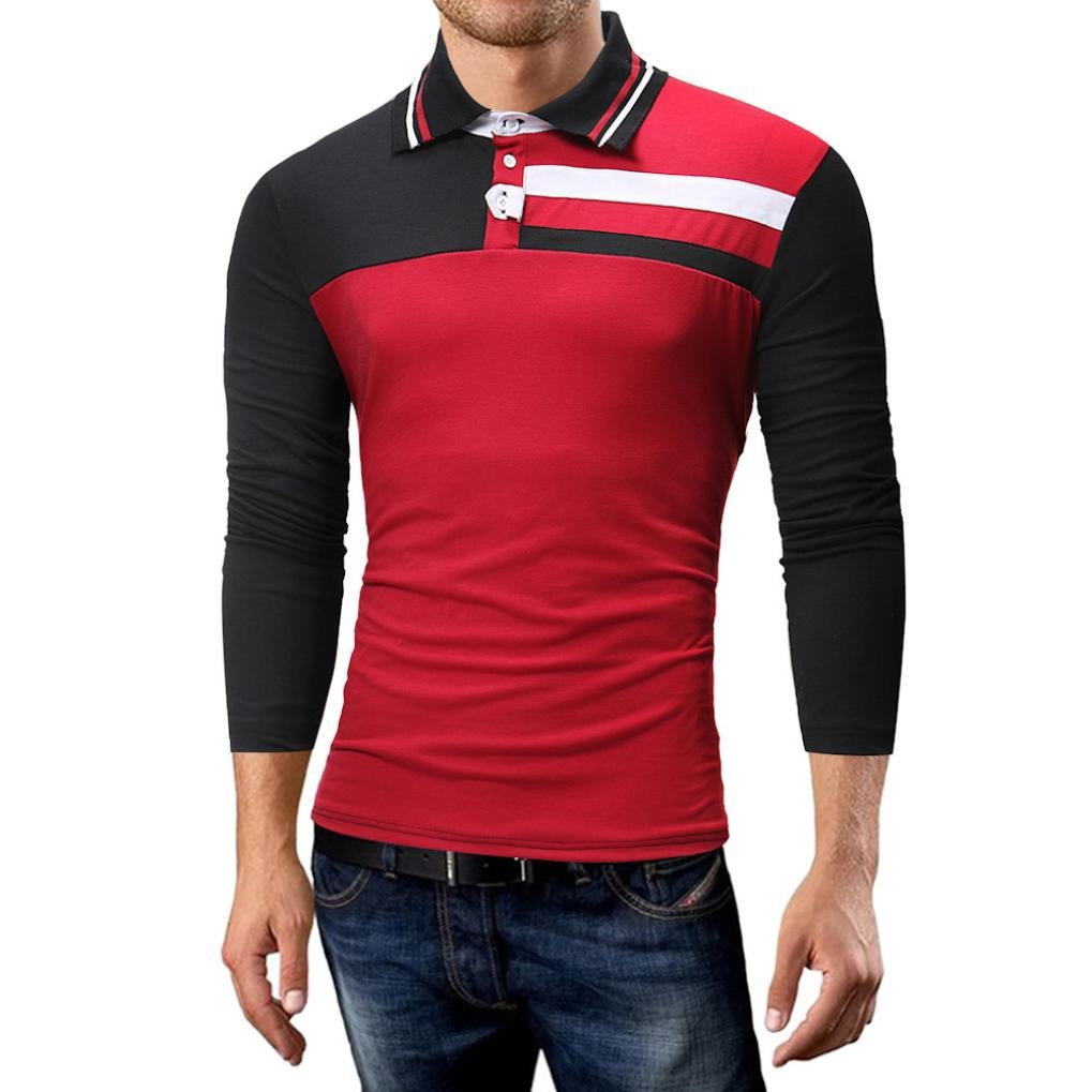 XL, Long Sleeve-Red G/&Kshop Mens Shirt,Fashion Long Sleeve Patchwork Cutaway Polo T-Shirt Tops Blouse
