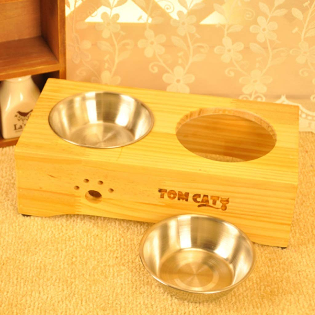 M CXQ Dog Bowl Pet Bowl Dog Food Bowl Small Medium and Large Dog Stainless Steel Anti-Skid Wooden Frame Cat Bowl Pet Supplies (Size   M)