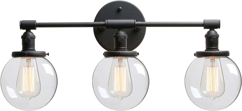 Luces de pared industriales, Negro 3-luces Iluminación de la pared interior Edison E27 Lámpara de pared de zócalo con interruptor y globo Claro Shade Shade Wall Sconte Fittings Vanity Mirror Linterna