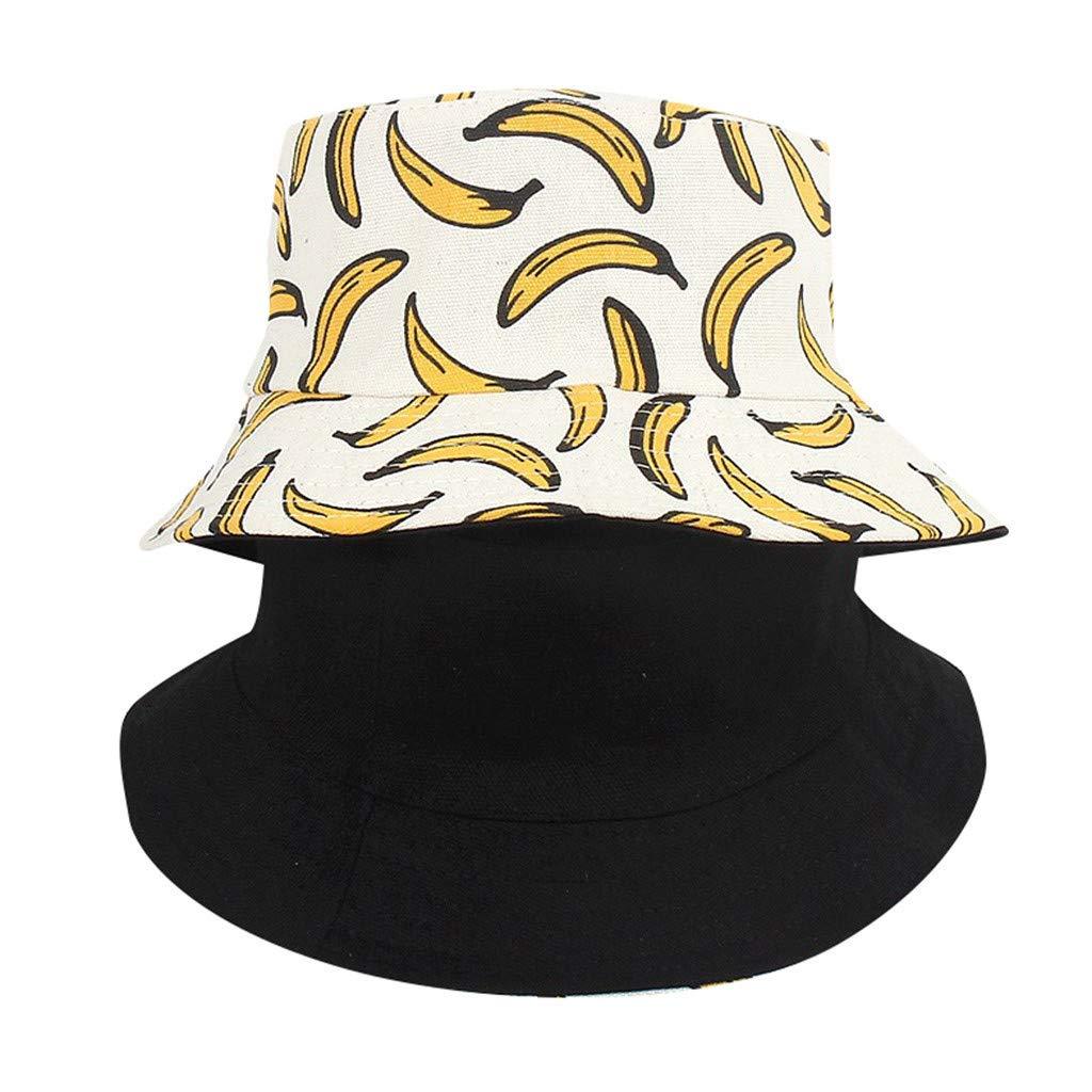 BHYDRY Unisex Adulto Doble Cara Desgaste Banana Pescador Sombrero Protector Solar al Aire Libre Gorra