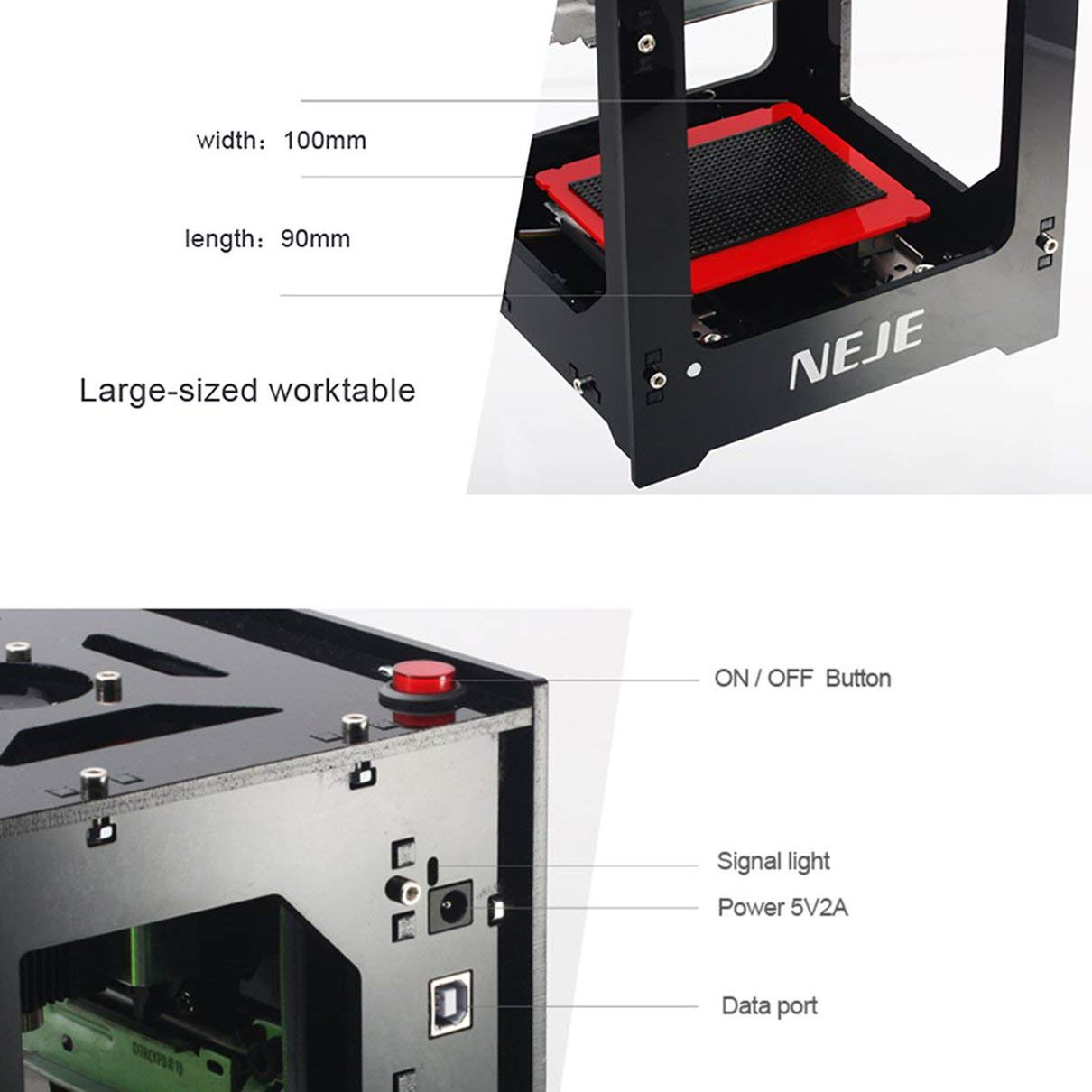 NEJE DK-8-KZ 1000mW / 2000mW / 3000mW Mini máquina de ...