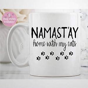Nama-stay Home with My Cats Mug Funny Coffee Mug Novelty Ceramic Tea Cup Christmas Birthday Present for Women Men