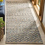 Safavieh CAP305M-28 Cape Cod Collection Blue and Natural Cotton Runner, 2'3'' x 8