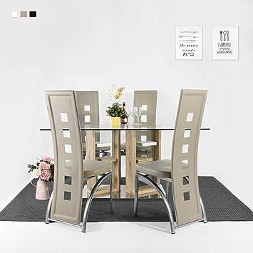 Fitathome Lot De 4 Chaises Design Pvc Taupe Métal Argent