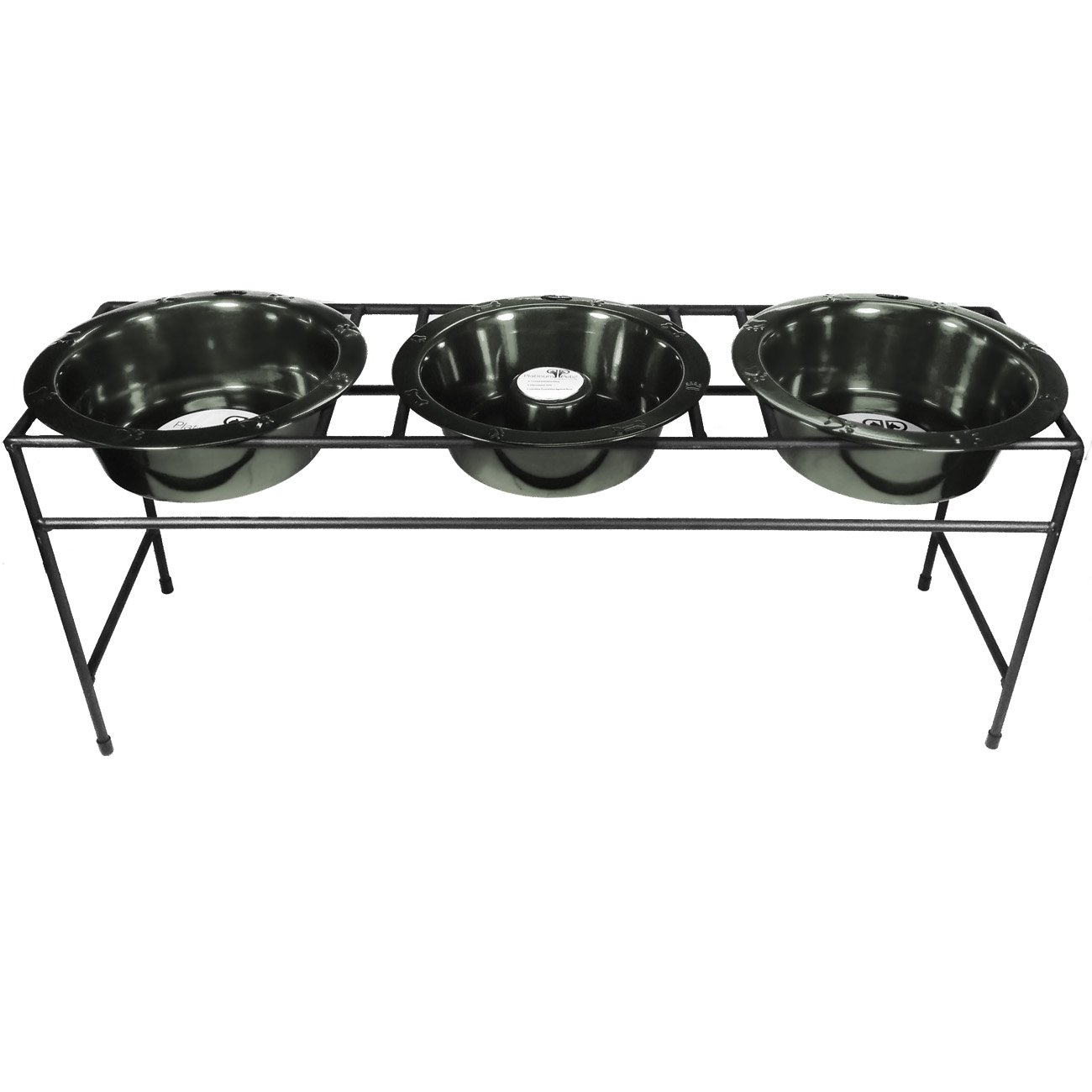 Platinum Pets Modern Triple Diner Feeder with Slow Eating Stainless Steel Cat/Dog Bowls