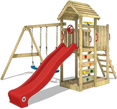 WICKEY Parque infantil de madera MultiFlyer con columpio y tobogán rojo, Torre de escalada de exterior con techo, arenero y escalera para niños