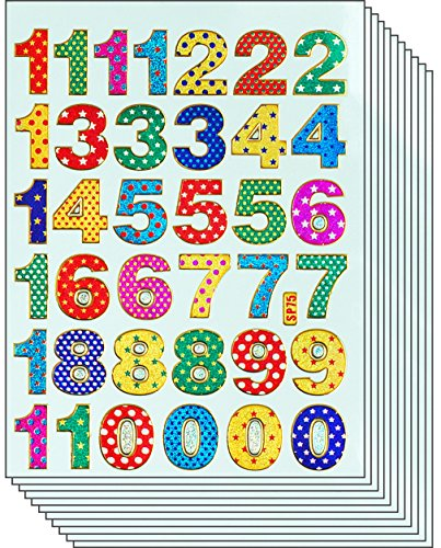 Jazzstick 360 Smiling Glitter 1-9 Number Stickers, 10 sheets