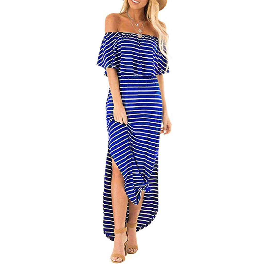 Womens Boho Maxi Dress Short Sleeve Ruffle Off Shoulder Striped Party Long Dresses Casual Side Split Beach Summer Holiday Sundress with Pockets