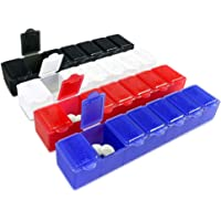 7 Day Pill Box with Snap Close Lids - Weekly Pill Organizer 4 Times a Day or 28 Day Dispenser - Comes with 4 Separate 7…