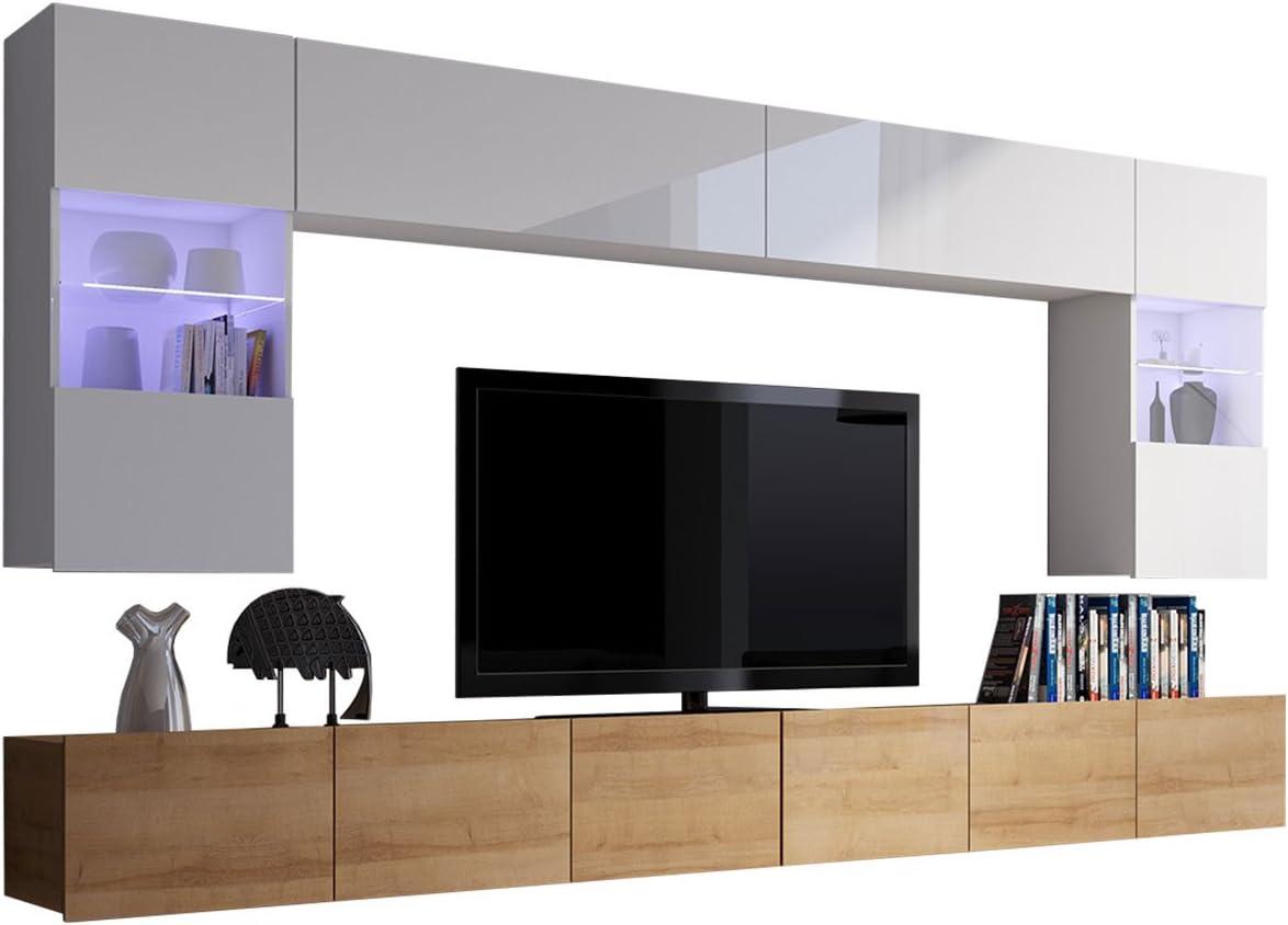 Moderne Wohnwand Calabrini I, Anbauwand, Mediawand, Hängevitrine, TV  Lowboard, Wandregal, Wohnzimmerschrank, Fernsehschrank (ohne Beleuchtung,  Eiche