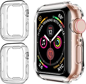 2 Pack Watch Protective Case Compatible for Apple Watch case Series 6 5 4 SE for Iwatch Screen Protector Case 44mm Soft TPU HD Clear Ultra-Thin Lightweight Full Protective Cover Case for Iwatch Cover