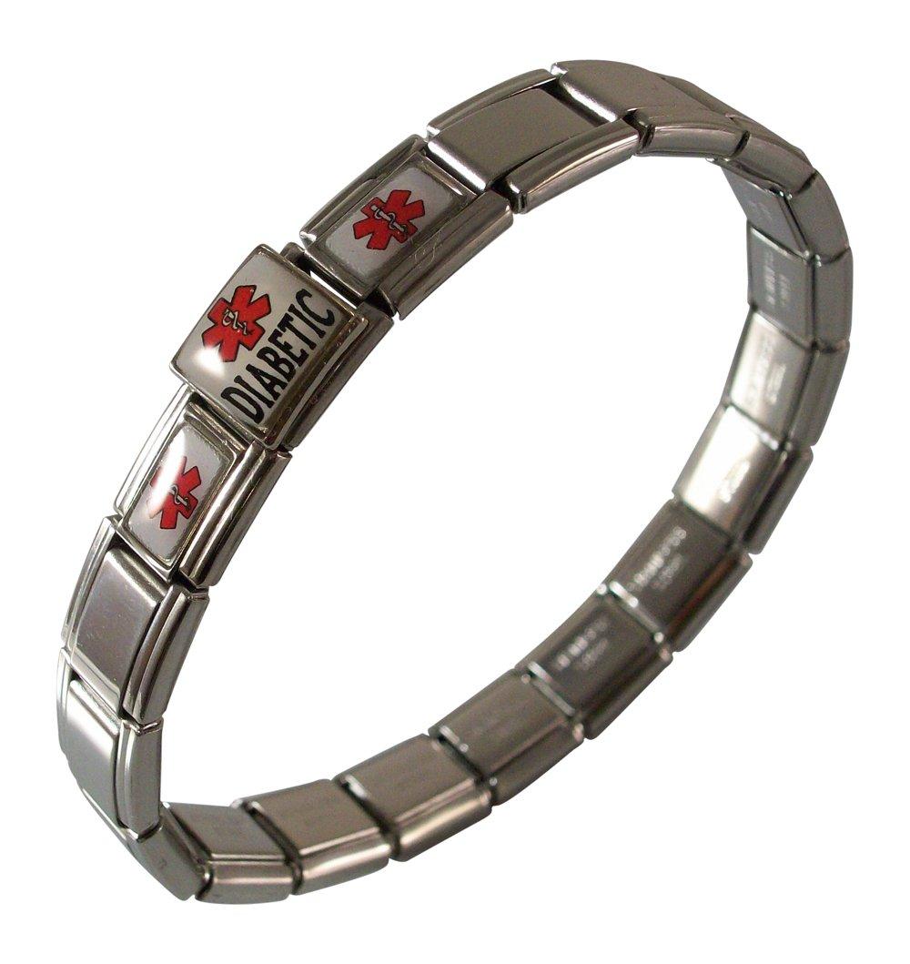 Gadow Jewelry Diabetic Medical ID Alert Italian Charm Bracelet Red
