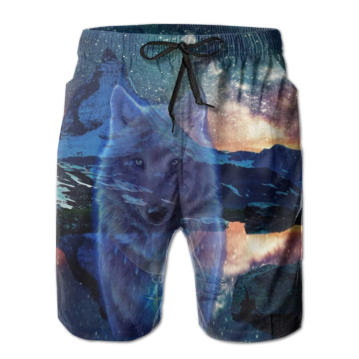 Matterhorn Wolf Men/â/€s Beach Board Shorts Quick Dry Swim Truck Shorts