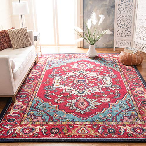 Safavieh Monaco Collection MNC207C Modern Oriental Medallion Red and Turquoise Distressed Area Rug (9' x 12')
