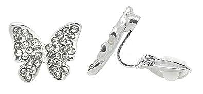 magasiner pour authentique haute couture grande qualité Boucles d'oreilles à clip pour oreilles non percées, en forme de papillons,  en argent avec strass, pour femme