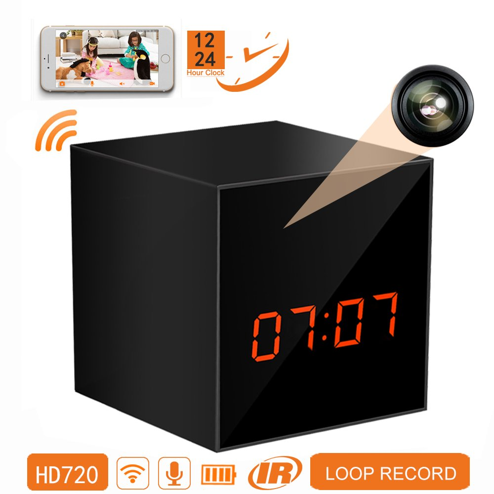 PANORAXY B100V.3 Mini WiFi Hidden Spy Nanny Camera,Invisible Lens,8mtrs Super Night Vision,Remote 720P Live Video,Free App on IOS&Android Phone Pad,Loop Record,12&24 Hours,Clock Alarm,Free 16G card