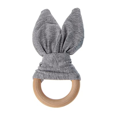 Ruzida Wooden Bunny Ear Teether Chew Bead Teething Baby Toys Ring with Crinkle Material Shower Gift (GY) : Baby
