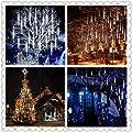 Kellegour Falling Rain Lights, Led Meteor Shower Rain Lights 8 Tubes 136 LED(11.8 inch/Tube) Icicle Rain Drop Lights Christmas Lights for Christmas Tree Decoration Wedding Party Holiday (White)