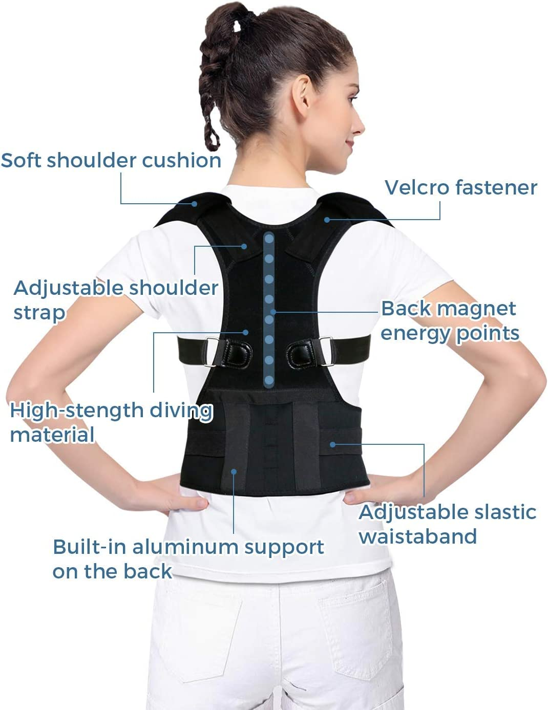 Posture Corrector for Women and Men KarmaRebirth Back Brace with Fully Adjustable Straps Shoulder Cushion Improves Posture Provides Lumbar Support Relieve Lower and Upper Back Pain(S)