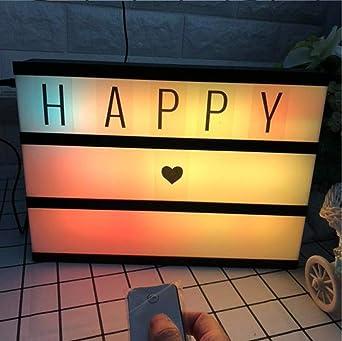 Caja de luz de cine A4: la caja de luz cinemática a4 incluye letras y emoji iluminados encienden la batería de la señal de la caja o usb, blanco: Amazon.es: Iluminación