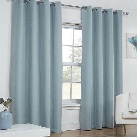 Tonys Textiles Linen Look Textured Thermal Blackout Ring Top Eyelet Curtains