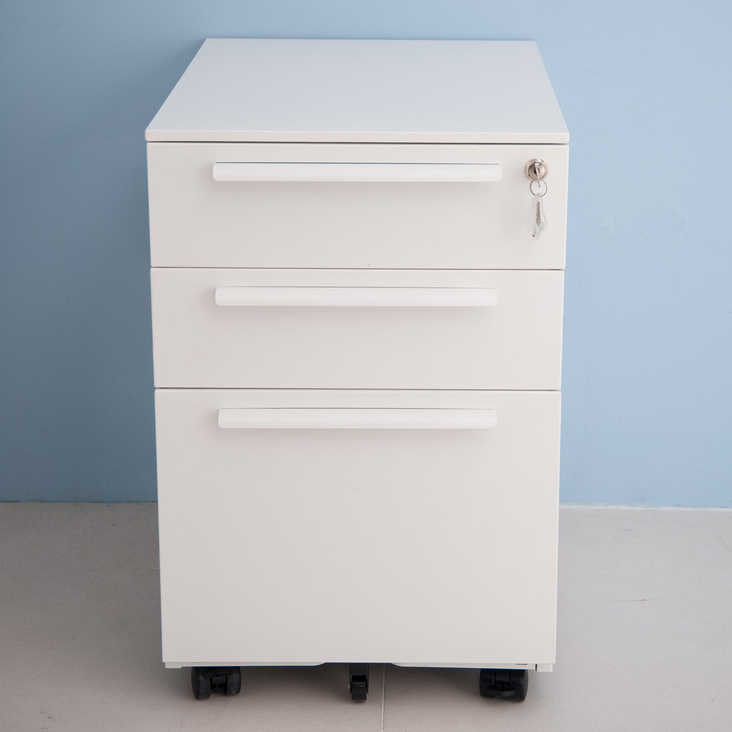 Merax 3 Drawer Mobile Metal Solid Storage File Cabinet with Keys, White