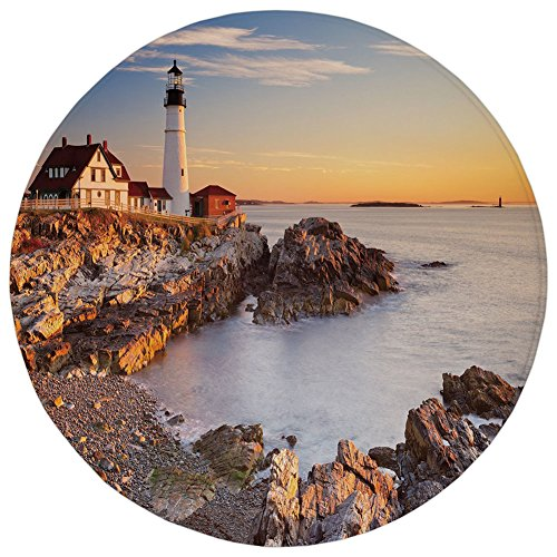 Round Rug Mat Carpet,United States,Cape Elizabeth Maine River Portland Lighthouse Sunrise USA Coast Scenery,Light Blue Tan,Flannel Microfiber Non-slip Soft Absorbent,for Kitchen Floor Bathroom