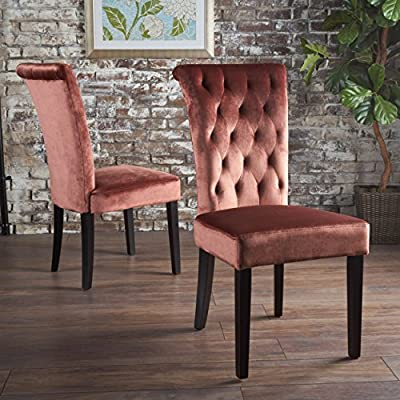 "Christopher Knight Home Venetian Tufted Velvet Dining Chair, Blush / Dark Brown - ""Includes: two (2) dining chairs material: New velvet composition: 100% polyester Leg material: rubberwood color: blush Leg Finish: dark brown assembly required Hand crafted details dimensions: 28.00 inches deep x 19.25 inches wide x 39.75 inches high Seat width: 20.00 inches Seat Depth: 17.75 inches Seat Height: 19.25 inches"" - kitchen-dining-room-furniture, kitchen-dining-room, kitchen-dining-room-chairs - 61ei8or6aBL. SS400  -"