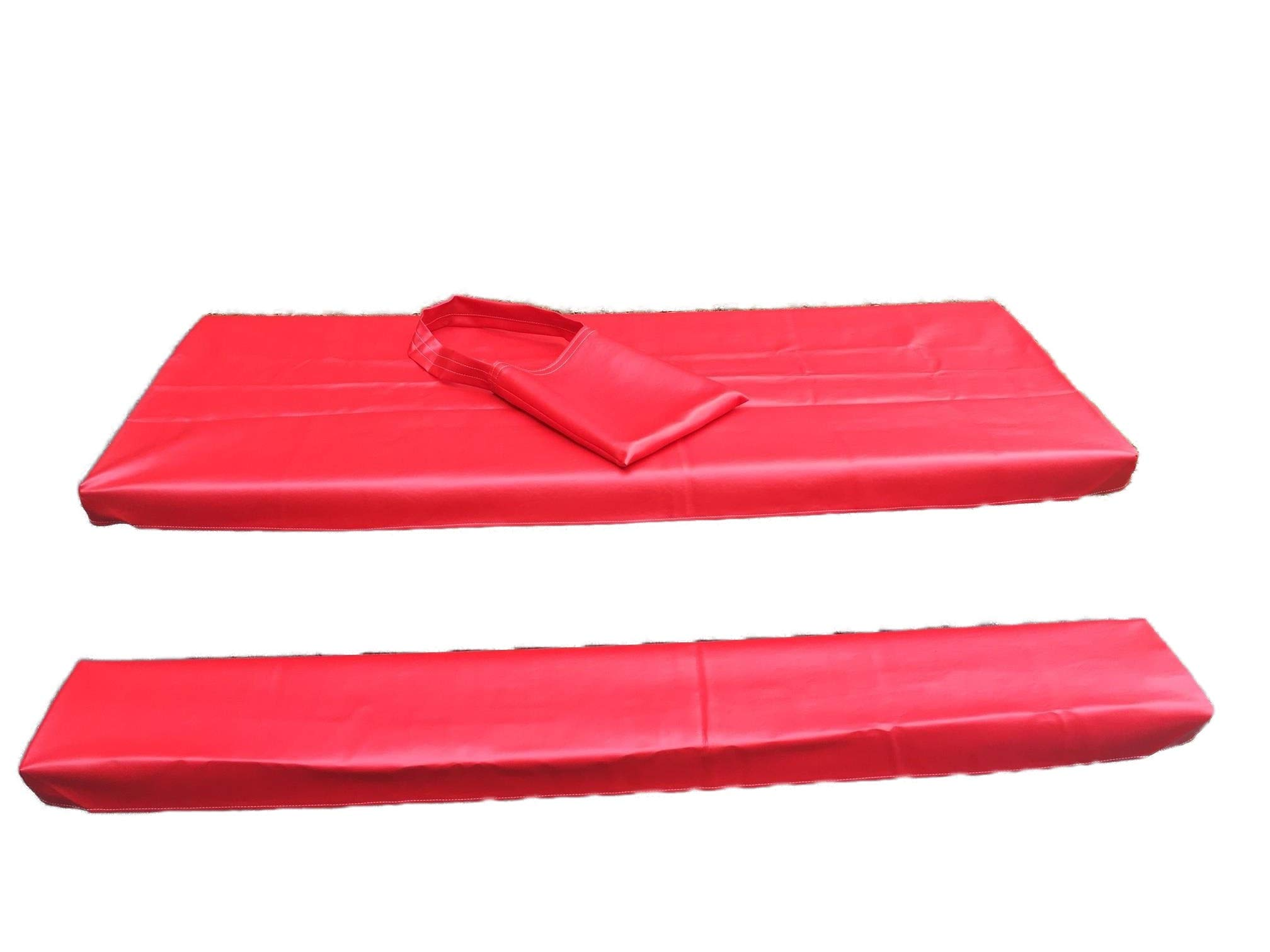 Table Gloves- Worlds Finest, Most Heavy Duty, Fitted Marine Grade Vinyl Picnic Table Cover Sets- Hand Made in The U.S.A. - Great for Camping or Full Time RV Living-(8 Foot Set- Classic Red) by Table Gloves (Image #1)