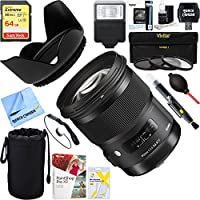 Sigma 50mm f/1.4 DG HSM A-Mount Lens for Sony A Cameras (311205) + 64GB Ultimate Filter & Flash Photography Bundle