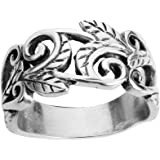 Acacia Leaves Filigree Ring Sterling Silver 925 (Sizes H-T 1/2)
