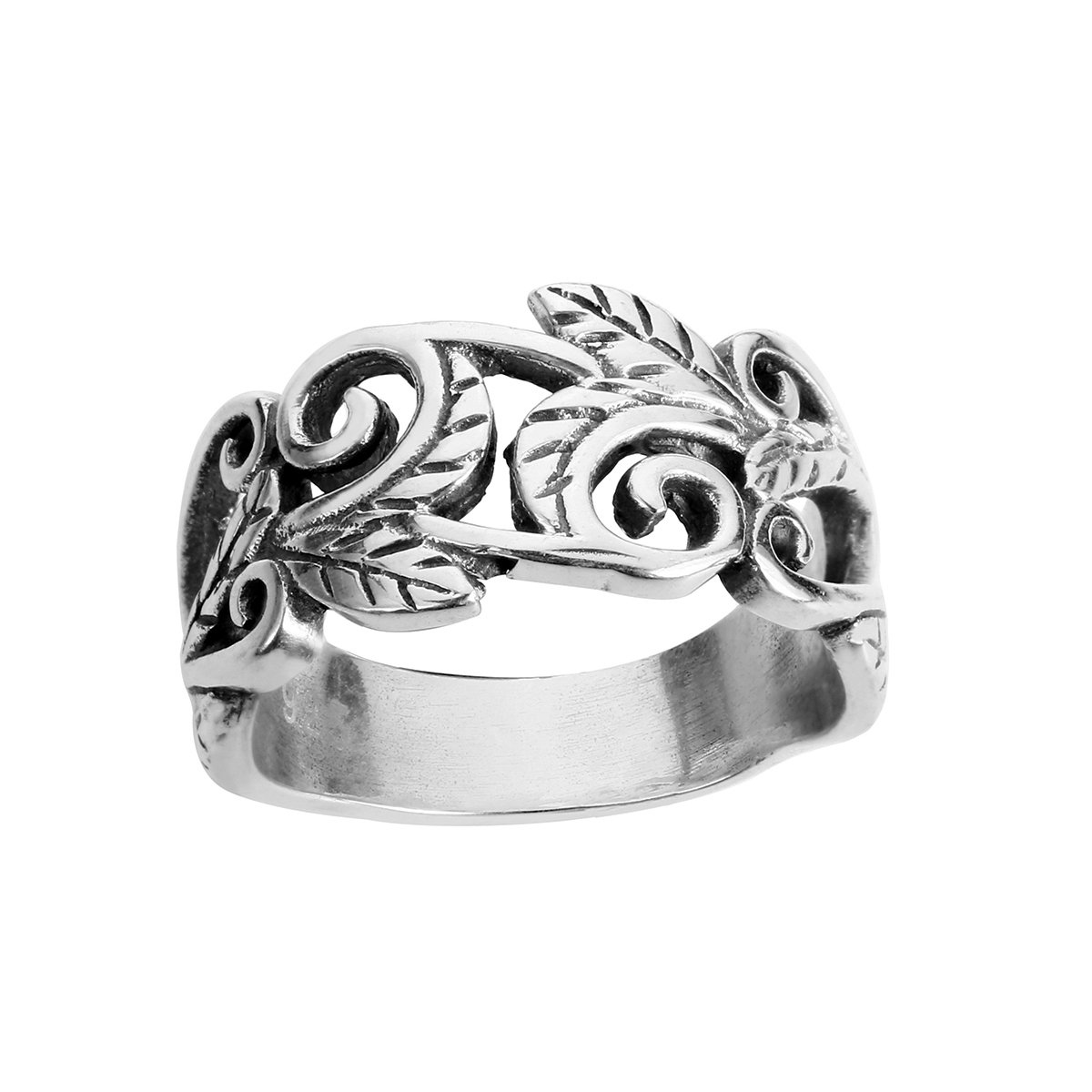 CloseoutWarehouse Sterling Silver Acacia Leaves Filigree Ring (Sizes 2-15)
