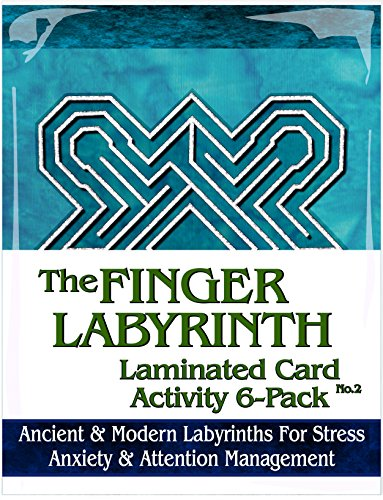 Finger Labyrinth Laminated Card 6-Pack 2: Focus Tools for Stress, Anxiety, PTSD, ADHD & Autism by Mandalynths