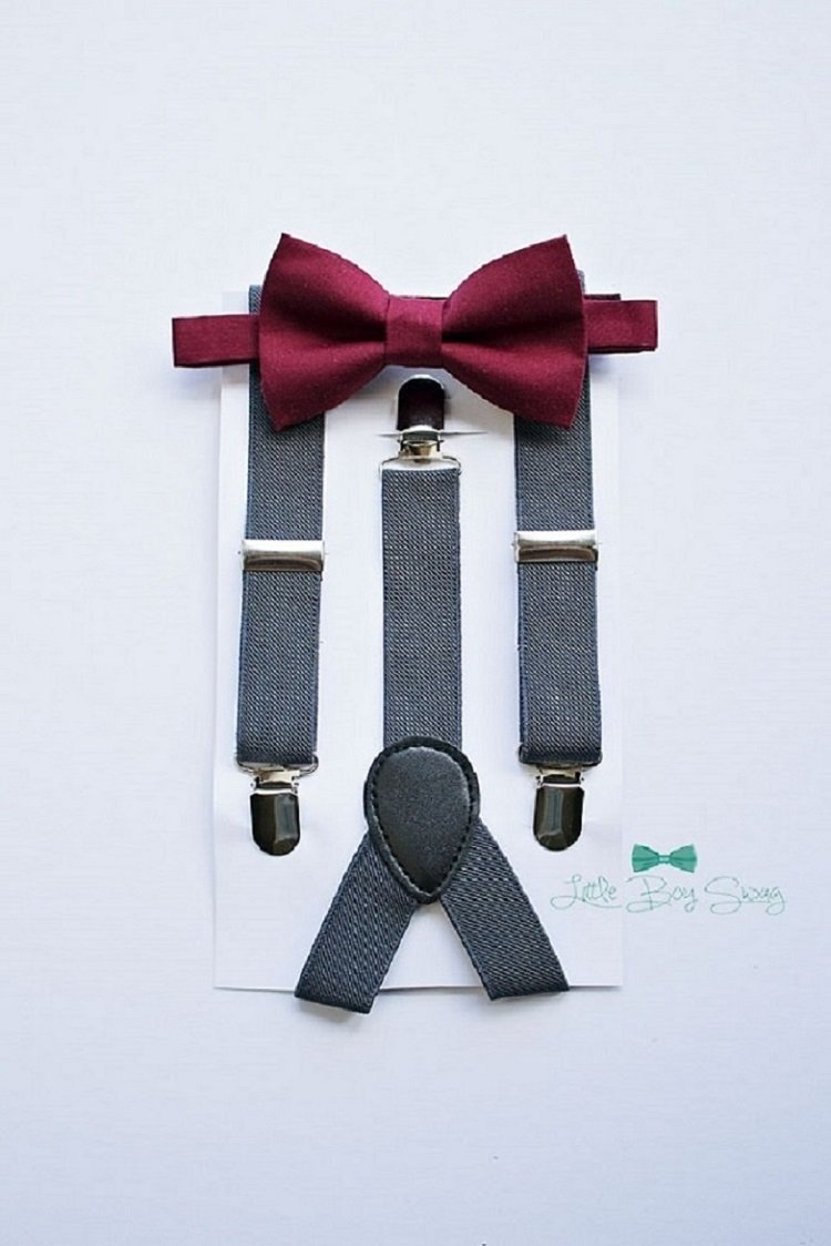 top-rated authentic price available Boys Burgundy Wine Bow Tie with Charcoal Grey Suspenders. A stylish look  for ring bearers, groomsman, birthday parties, cake smash or family photos.